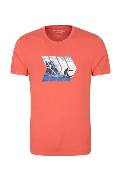 Textured Waves Mens T-Shirt - Orange