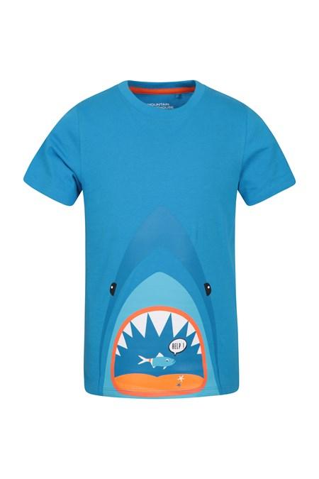 add287b31883 Shark Help Kids T-Shirt - Blue