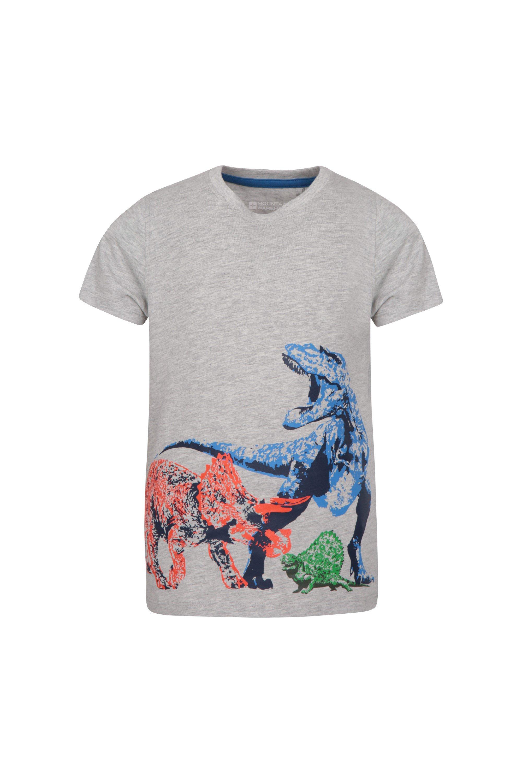 Dino Stack Kids T-Shirt - Grey