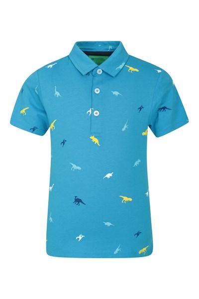 Printed Kids Polo Shirt - Blue