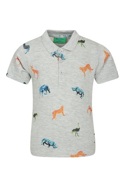 Printed Kids Polo Shirt - Grey