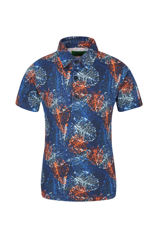 Printed Kids Polo Shirt - Navy