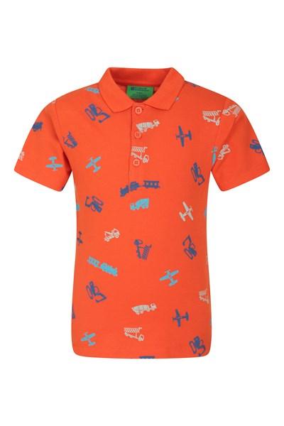 Printed Kids Polo Shirt - Orange