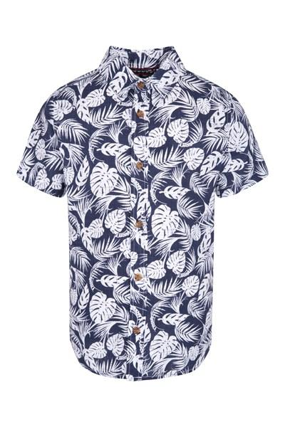 Tropical Kids Shirt - Navy