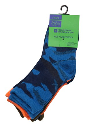 Camo Kids Ankle Socks - 5 pack