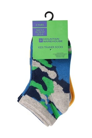 Camo Kids Trainer Socks - 5 pack