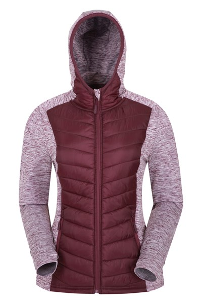 Action Packed Womens Padded Jacket - Burgundy