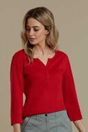 Paphos ¾ Sleeve Womens Button Top