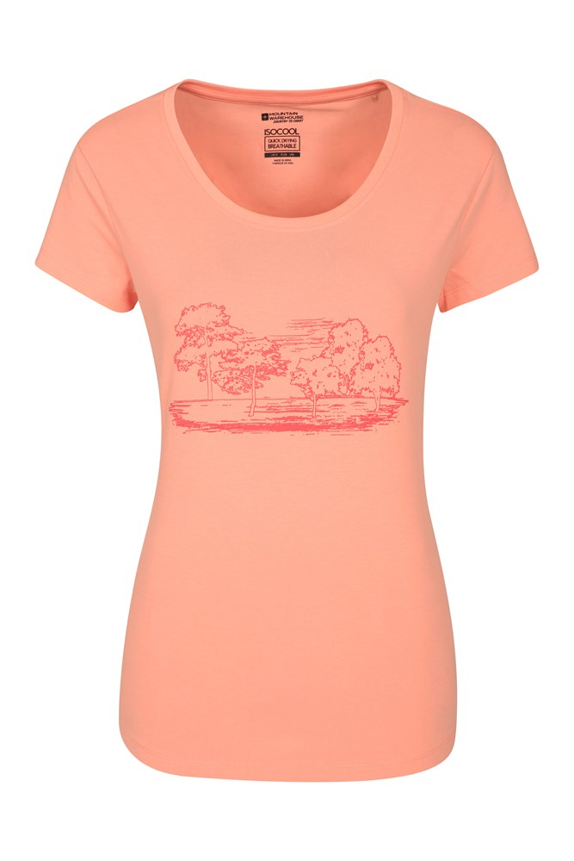 Tree Landscape Printed Womens Tee - Pink