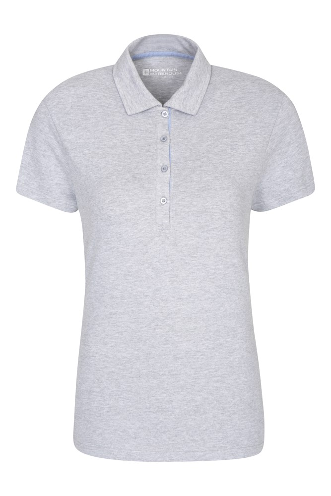 Pique Damen Stretch Polo-Shirt - Grau