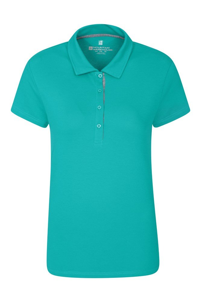 Pique Damen Stretch Polo-Shirt - Dunkel Türkis