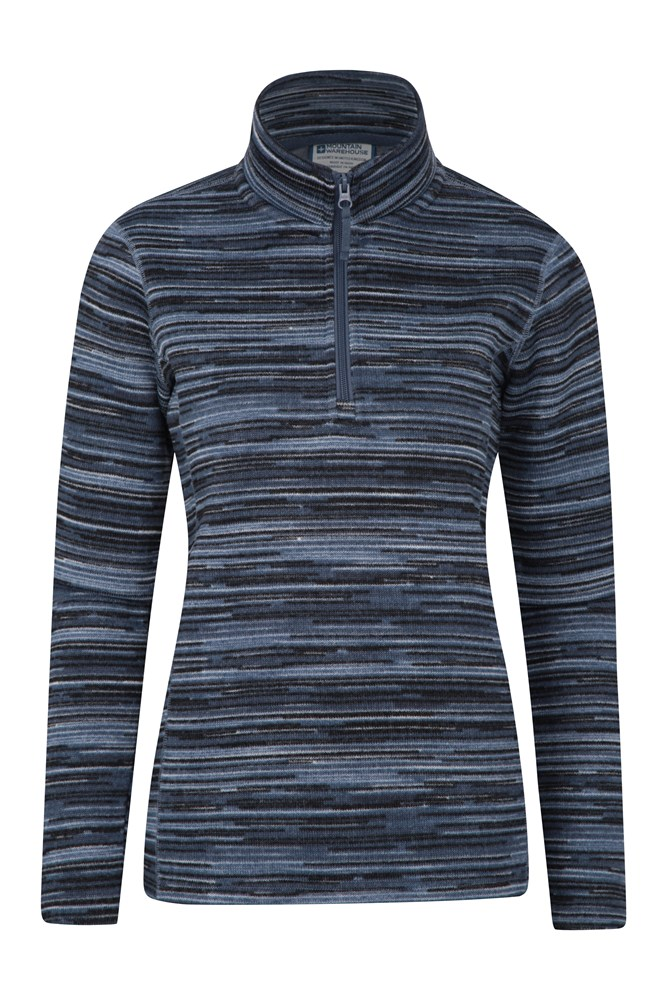 Idris Stripe Half Zip Womens Fleece - Blue