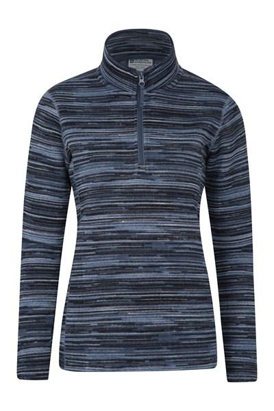 Idris Stripe Half Zip Womens Fleece - Blue