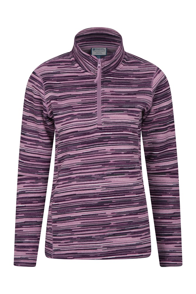 Idris Stripe Half Zip Womens Fleece - Pink