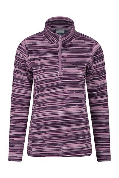 Idris Stripe Half Zip Womens Fleece - Pink