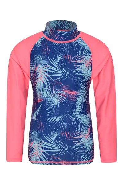 Long Sleeved Printed Kids Rash Vest - Pink
