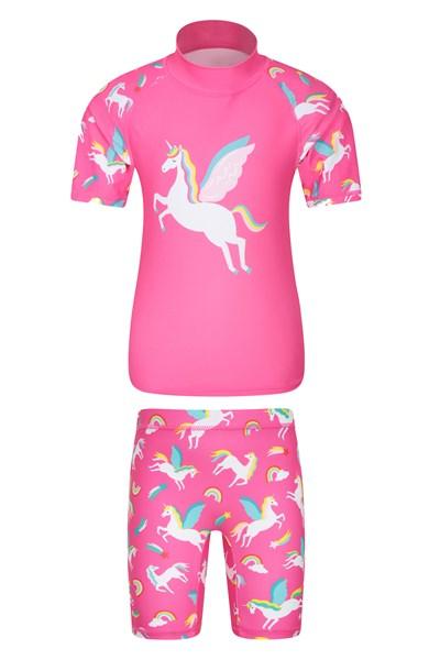 Printed Kids Rash Vest and Shorts - Pink