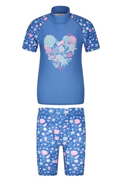 Printed Kids Rash Vest and Shorts - Pink