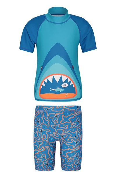 Printed Kids Rash Vest and Shorts - Teal