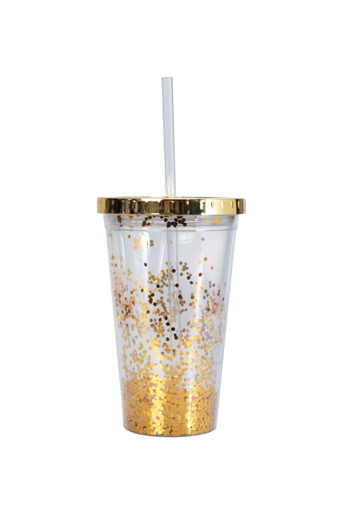 Glitter Cup with Straw - Gold