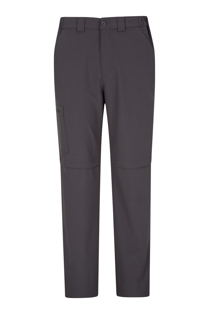 Stride Mens Stretch Zip-Off Trousers - Short Length - Grey