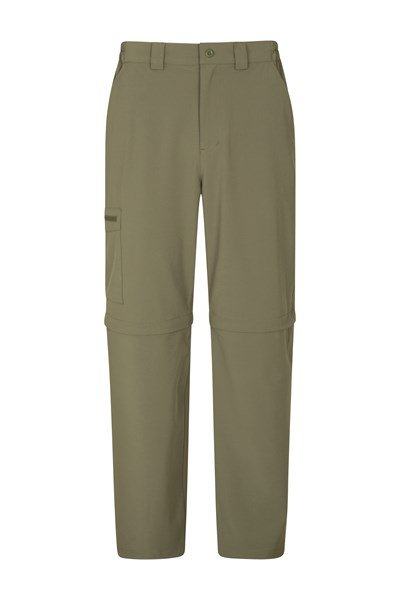Stride Mens Stretch Zip-Off Trousers - Short Length - Green
