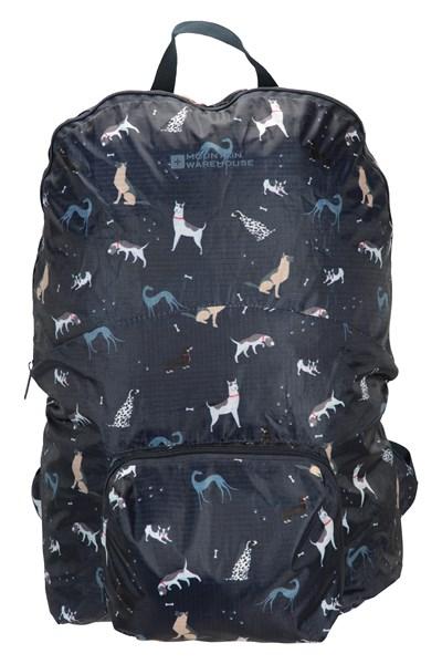 Printed Packaway Backpack - Navy