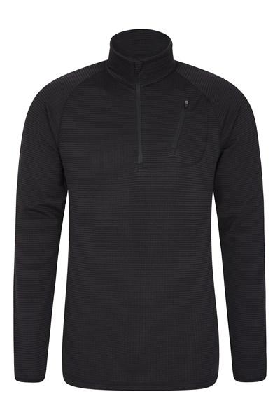 Airly Half Zip Mens Fleece - Black