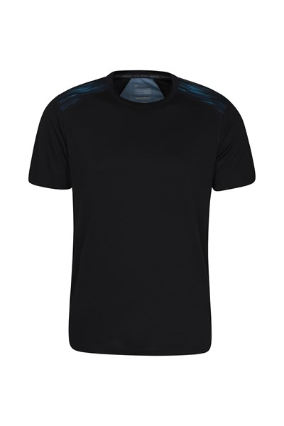 Aspect Printed Mens Panel T-Shirt - Blue