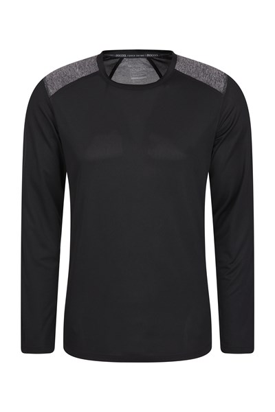 Aspect Panel Long Sleeve Mens Top - Black