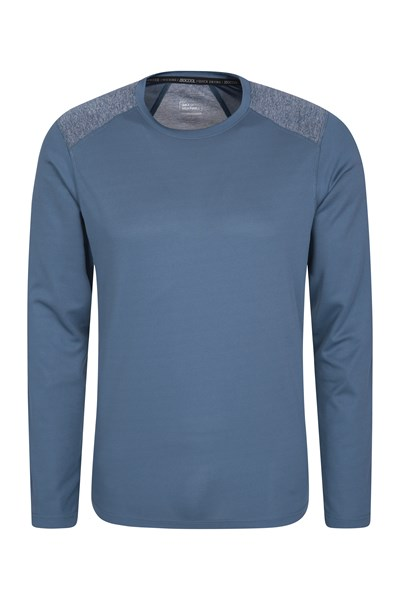 Aspect Panel Long Sleeve Mens Top - Blue