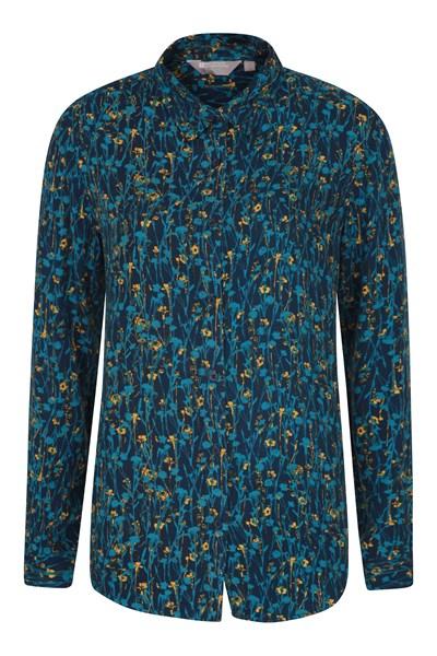 Daisy Womens Printed Long-Sleeve Shirt - Blue