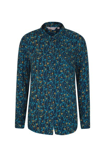 Daisy Womens Printed Long-Sleeve Shirt - Blue
