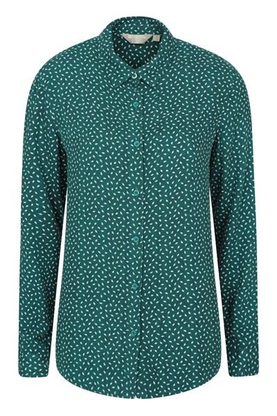 Daisy Womens Printed Long-Sleeve Shirt - Green