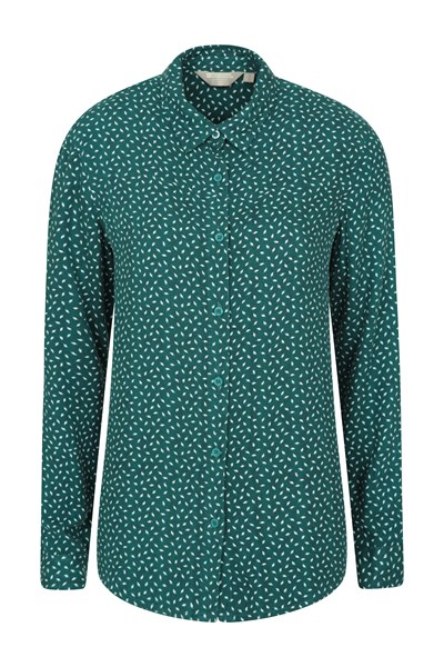 Daisy Womens Printed Long-Sleeve Shirt - Green