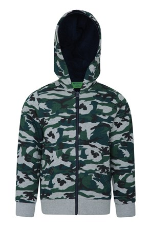 Camo Fur Lined Kids Hoody