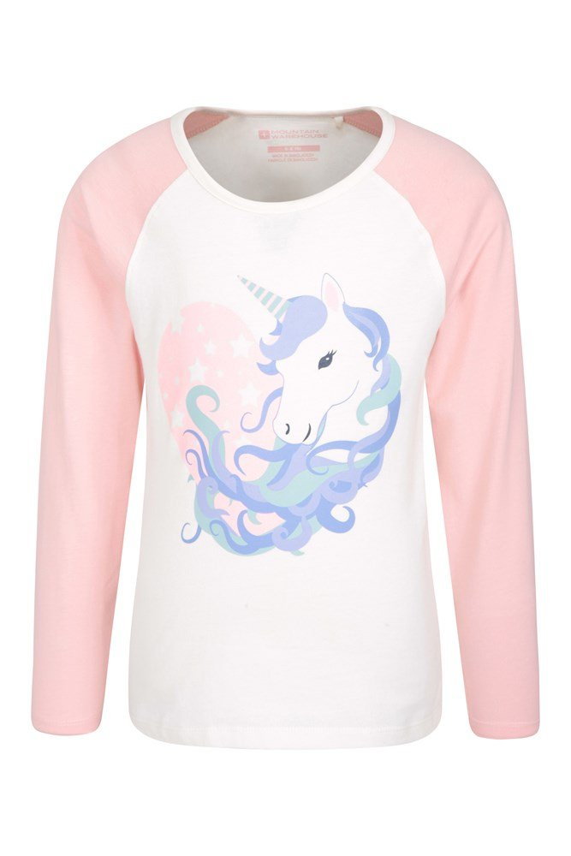 9 Mountain Warehouse Uni  Long Sleeved Unicorn Hair Sequin Kids Tee In Pink