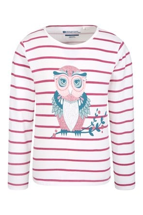 Owl Sparkle Striped Kids Tee