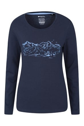 Mountain Landscape Printed Womens Long Sleeve Top