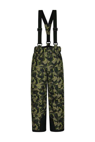 Printed Kids Ski Pants - Green