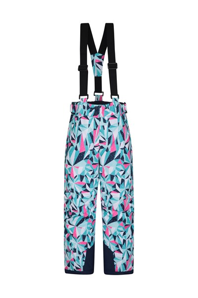 Printed Kids Ski Pants - Teal