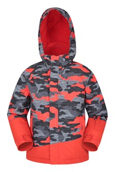 Banff Printed Kids Ski Jacket Orange