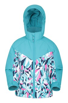Snow Storm Kids Printed Ski Jacket Teal