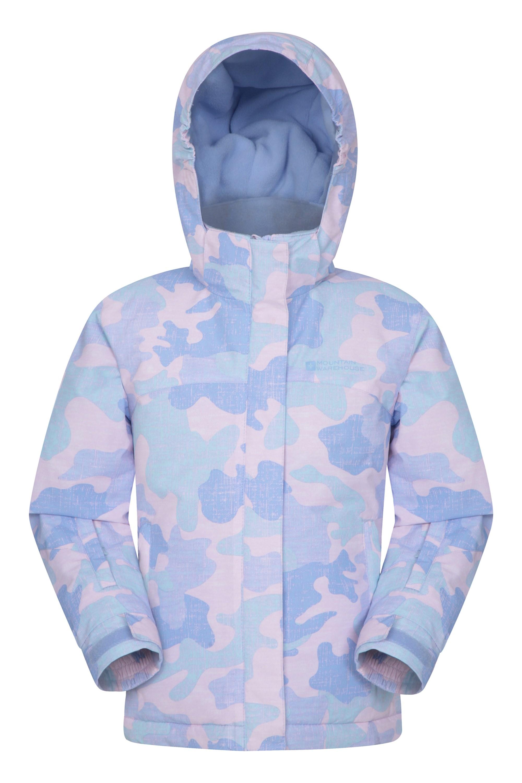 Vail Camo Printed Kids Ski Jacket – Pink