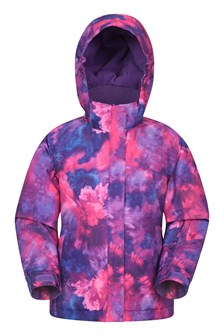 Snow Dust Printed Kids Ski Jacket  Purple