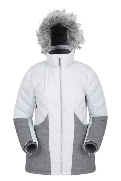 Snowflake Womens Padded Ski Jacket - Grey