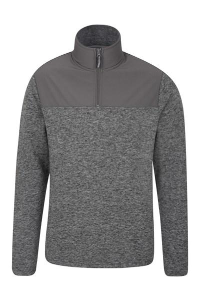 Idris Panel Mens Fleece - Grey