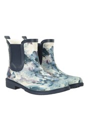 Womens Printed Winter Rubber Ankle Wellies