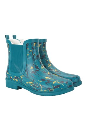 Winter Printed Rubber Womens Ankle Wellie