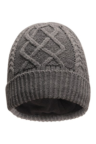Mens Cable Knit Beanie - Grey